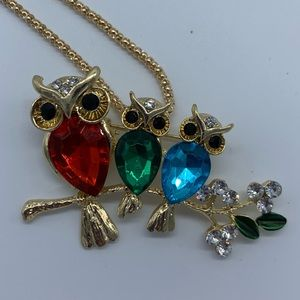 New three owls sitting on branch pendant necklace